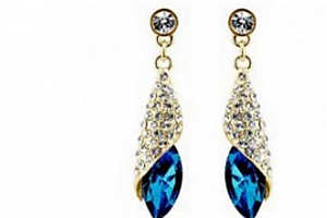 Ziskoun náušnice Long Drop Earrings- gold CE000038 Barva: Modrá