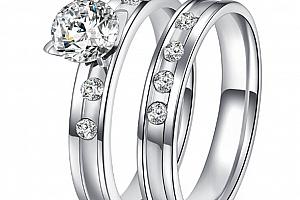 6564048a1 Dvojitý prstýnek z chirurgické oceli ve stříbrném provedení se zirkony  SR000046 Velikost: 9